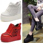 รองเท้าผ้าใบเสริมส้นสีแดง/ดำ/ขาว ไซต์ 34-39