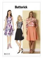 แพทเทิร์นตัดเดรสสตรี Butterick 6319B5 ไซส์ปกติ Size: 8-10-12-14-16 (อก 31.5 - 38 นิ้ว)
