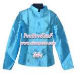 เสื้อคอตั้งแขนยาว-ผ้าไหมอิตาลี สีฟ้า (size-S)