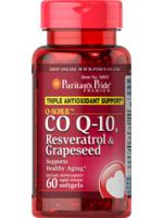 Puritan CoQ10, Resveratrol Grapeseed ต้านอนุมูลอิสระ ลดริ้วรอย อ่อนเยาว์ 60ซอฟเจล