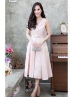 (Size M,L,XL) ชุดไปงานแต่งงาน ชุดไปงานแต่งสีชมพู ผ้าไหมคอวี มีดีเทลที่อกมีเย็บเสริมดันทรงด้านใน ชุดนี้แพทเทิ้ลเป๊ะ คัตติ้งเป๊ะ