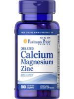 Puritan's Pride Chelated Calcium Magnesium Zinc 1000 mg/400 mg/25 mg 100 Caplets แคลเซี่ยมแมกนีเซี่ยมและซิงค์