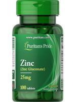 Puritan's Pride Zinc 25 mg (Zinc Gluconate) 100 tablets ซิงค์ สังกะสี ลดรอยแผล รอยสิว สมานแผล