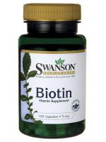 Swanson Premium Biotin 5000 mcg 100 capsules ลดผมร่วง ร่างผิวแข็งแรง ลดผมบาง เร่งการเกิดผมใหม่ เล็บแข็งแรง