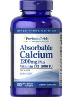 Absorbable Calcium 1200mg Plus Vitamin D3 1000 IU 100 Softgels แคลเซี่ยมและวิตามินดีบำรุงกระดูก ฟัน