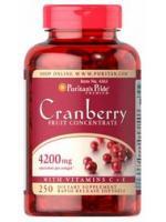 Puritan's Pride Cranberry Fruit Concentrate with C & E 4200 mg 250 เม็ด แครนเบอรี่สกัดเข้มข้น แก้ปัญหาเชื้อราและแบคทีเรียในช่องคลอด และทางเดินปัสสาวะ ดูแลจุดซ่อนเร้นให้สะอาด