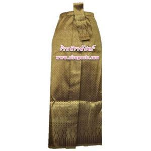 """ผ้าถุงป้าย-หน้านาง B1-8 สีทองขมิ้น (เอวใส่ได้ถึง 28"""") *แบบสำเร็จรูป-รายละเอียดตามหน้าสินค้า"""