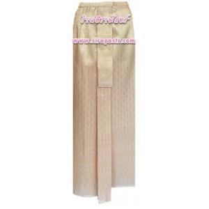 """ผ้าถุงป้าย-หน้านาง B7-3 สีครีมทอง (เอวใส่ได้ถึง 29""""/31"""") *แบบสำเร็จรูป-รายละเอียดตามหน้าสินค้า"""