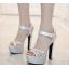 รองเท้าส้นสูงแต่งผ้าลูกไม้สวยสีเงิน/ทอง ไซต์ 34-39 thumbnail 8
