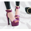 รองเท้าส้นสูงผ้าไหมเทียมสวยหรูสีม่วง/ฟ้า/แดง/ดำ ไซต์ 34-43 thumbnail 11