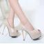 รองเท้าส้นสูงสีครีมมุกเปิดหน้า/สีดำ ไซต์ 34-38 thumbnail 4