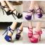 รองเท้าส้นสูงสีม่วง/ชมพู/น้ำเงิน/ดำ ไซต์ 34-39 thumbnail 1