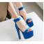 รองเท้าส้นสูงผ้าไหมเทียมสวยหรูสีม่วง/ฟ้า/แดง/ดำ ไซต์ 34-43 thumbnail 8