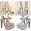 รองเท้าส้นสูงแต่งผ้าลูกไม้สวยสีเงิน/ทอง ไซต์ 34-39 thumbnail 1