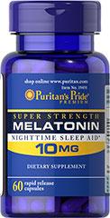 Puritan's Pride Melatonin 10 mg. 60 เม็ดCapsules เมลาโทนินช่วยการนอนหลับ รักษา jet lag ขะลอการชรา หลับสบายหลับลึก
