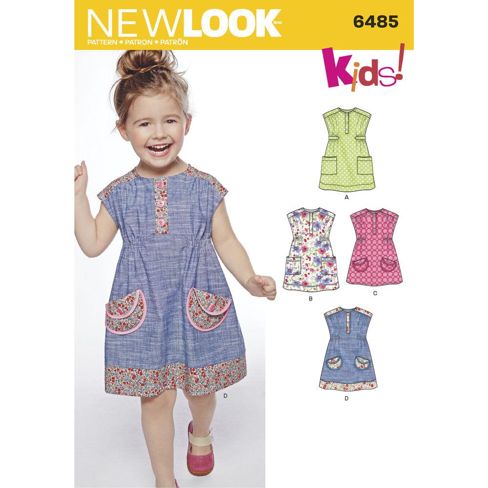 แพทเทิร์นตัดเดรสเด็กหญิง ยี่ห้อ NEWLOOK (6485) ไซส์ 6M-1-2-3-4