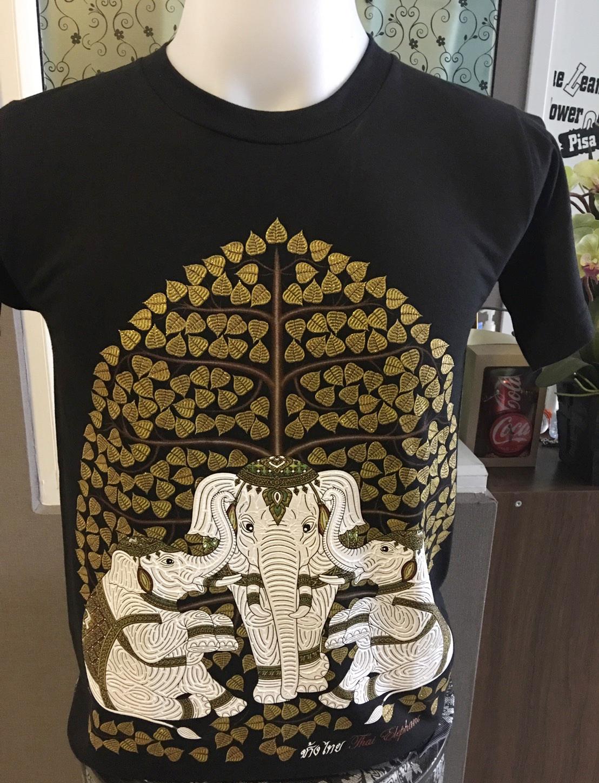 เสื้อสกรีนลายช้างไทย สกรีนนูนด้านหน้า สีดำ คอกลม