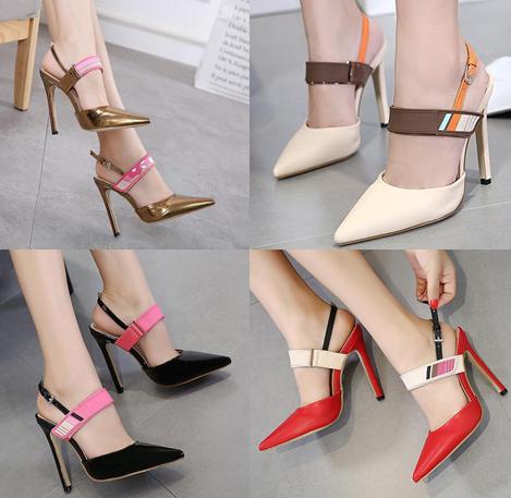 รองเท้าส้นสูง ไซต์ 35-40 สีดำ/แดง/ทอง/ครีม