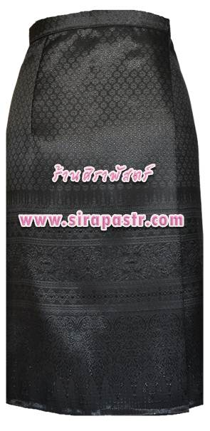 """ผ้าถุงป้ายข้าง-สั้น สีดำ (เอวใส่ได้ถึง 30"""") *รายละเอียดสินค้าในหน้าฯ (สินค้าลดราคา)"""