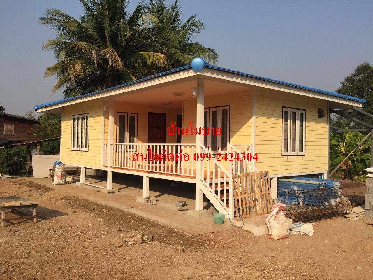 บ้านแฝดขนาด9x6 เมตร จะได้ห้องขนาด4x3เมตร 3ห้อง ห้องน้ำ 2ห้อง หลังคาทรงปั้นหยาคลุมเต็มระเบียงราคาพิเศษเพียง 525,000 บาท
