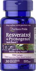 Puritan's Pride Resveratrol 100 mg & Pycnogenol® 30 mg 30 softgel ผสานทั้งสารสกัดไวน์แดง เรสเวอราทอล และเปลือกสนฝรั่งเศส ต้านวัย หน้าเด็ก หน้าใส ไม่แก่เร็ว ยืดอายุเซลล์