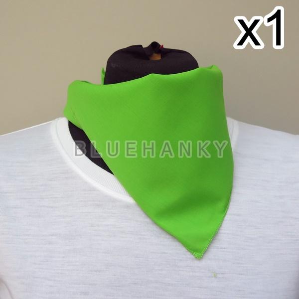 สีเขียวตอง สี่เหลี่ยม53ซม ผ้าพันคอกีฬาสี ผ้าเช็ดหน้าผืนใหญ่