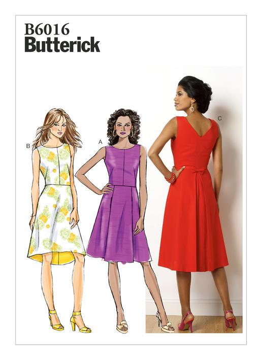 แพทเทิร์นตัดเดรสสตรี Butterick 6016A5 ไซส์ปกติ Size: 6-8-10-12-14 (อก 30.5-36 นิ้ว)