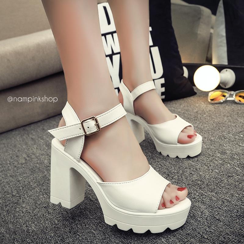 รองเท้าแฟชั่นสไตล์เกาหลี สูง 10 ซม. ขนาด 35-39