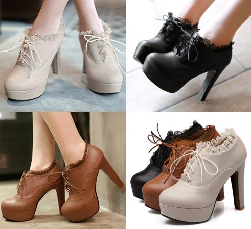 รองเท้าส้นสูงหุ้มเท้าน่ารักๆสีดำ/น้ำตาล/ครีม ไซต์ 34-43