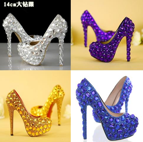 รองเท้าเจ้าสาว ไซต์ 35-40 สีขาว สีม่วง สีน้ำเงิน สีเหลือง ส้นสูง 6,8,11,14 ซม.