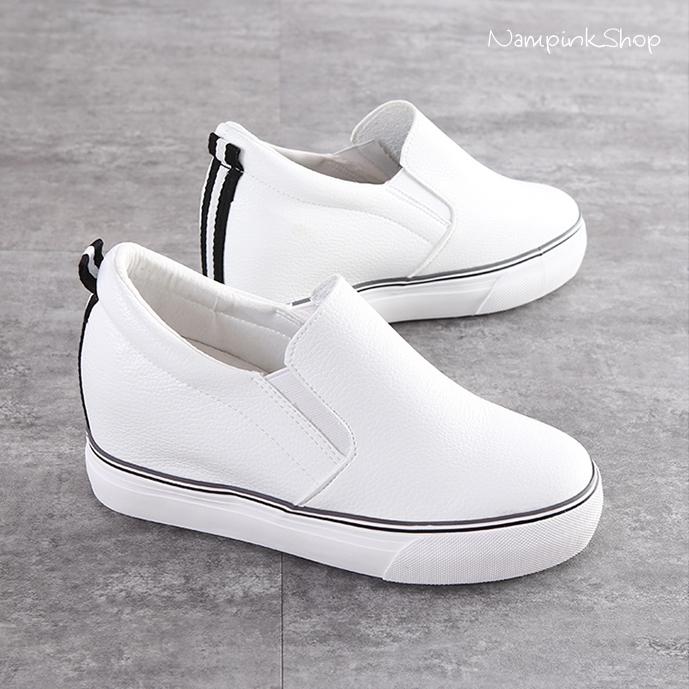 รองเท้าผ้าใบแฟชั่น สูง 2 นิ้ว(หนัง)