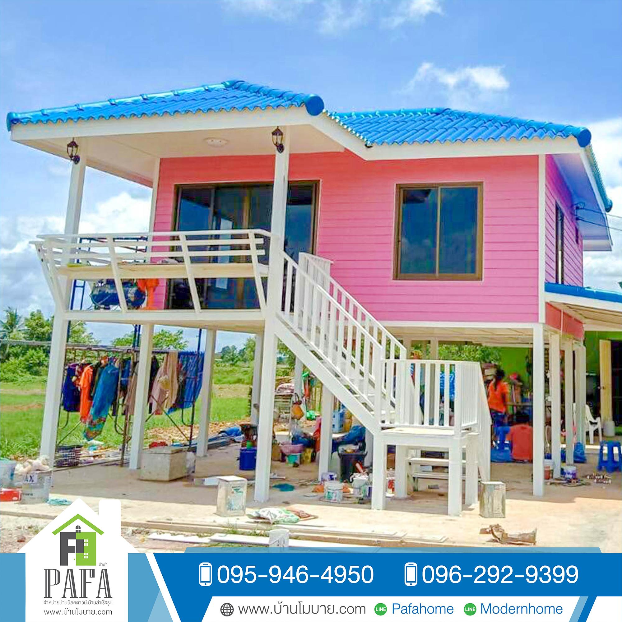 บ้านขนาด 8*6 เมตร ระเบียง 2*3 เมตร (1ห้องนอน 1ห้องน้ำ 2 ห้องโถง ยกสูง 2 เมตร)