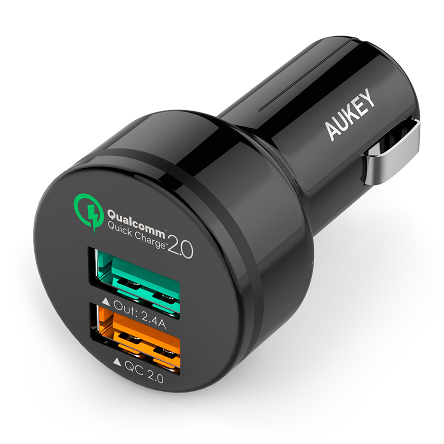 Aukey 2-Port USB Car Charger with Quick Charge 2.0 [CC-T1][Free USB Cable]