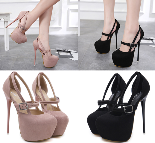 รองเท้าส้นสูงหัวมนสีชมพู/ดำ ไซต์ 34-40