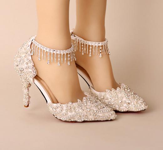 รองเท้าเจ้าสาวสีขาวแต่งคริสตัลงานหรู ไซต์ 34-39