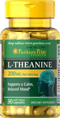Puritan's Pride L-Theanine 200 mg. 30 capsules ลดความเครียด ผ่อนคลายร่างกาย เพิ่มสมาธิ
