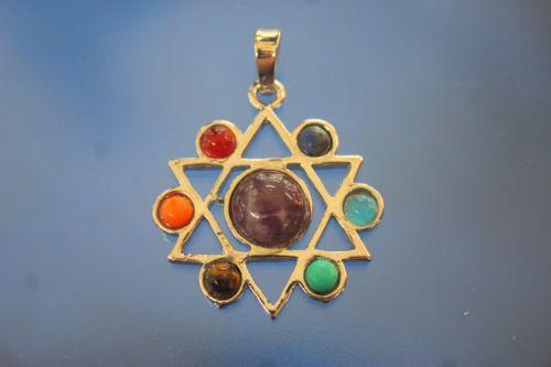 ดาวหกแฉกประดับหินสี 7 จักระ ( Star of David 7 Chakra )