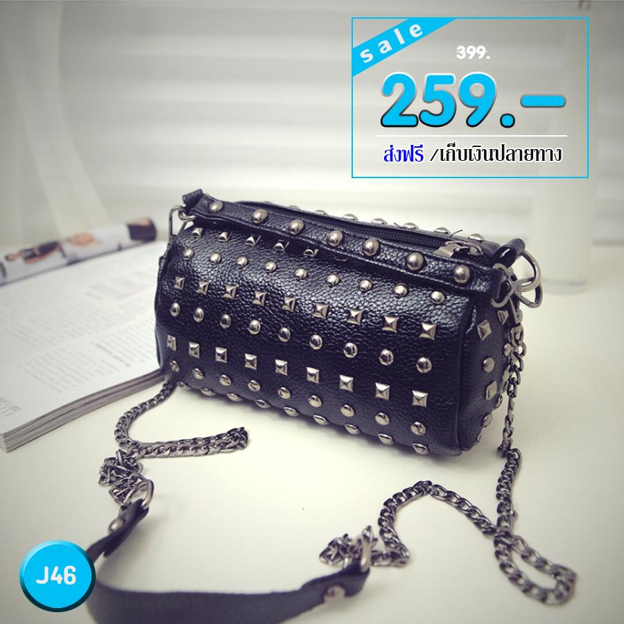 J46 กระเป๋าสะพายปักหมุดรอบ - สีดำ