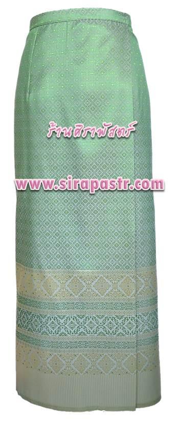 ผ้าถุงป้ายข้าง สีเขียวมิ้นท์ TC2 (เอวใส่ได้ถึง 36 นิ้ว) *รายละเอียดสินค้าในหน้าฯ