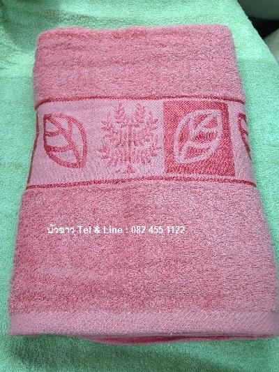 ผ้าขนหนู Cotton100% ผ้าเช็ดตัว ลายใบไม้ 27*54นิ้ว 9ปอนด์ โหลละ 1250บาท ส่ง 10โหล