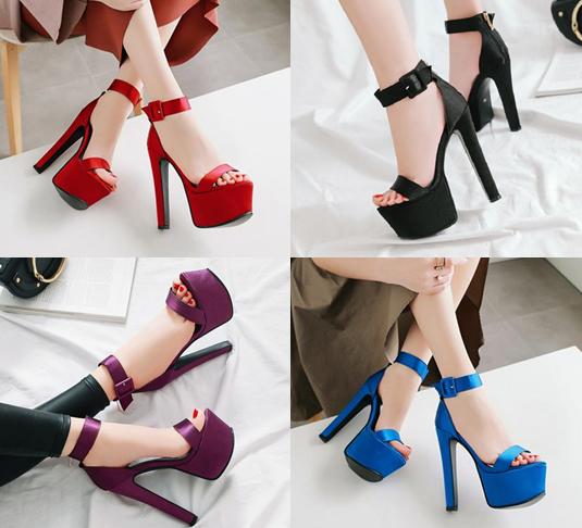 รองเท้าส้นสูงผ้าไหมเทียมสวยหรูสีม่วง/ฟ้า/แดง/ดำ ไซต์ 34-43