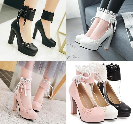รองเท้าส้นสูงคัดชูสีชมพู/ดำ/ขาว ไซต์ 34-43