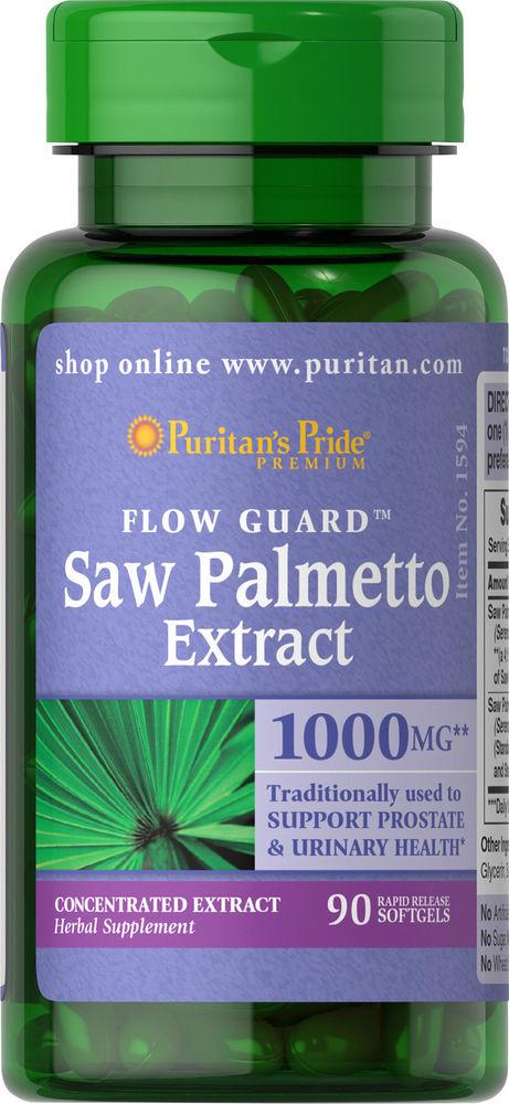 Puritan Saw Palmetto Extract 1000mg. 90 softgels. เหมาะสำหรับผู้ที่มีอาการผมร่วง ผมบางจากฮอร์โมนและกรรมพันธุ์