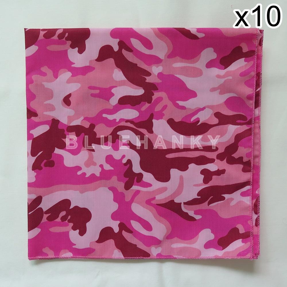 10 ผืน ผ้าพันคอ ผ้าโพกหัว ลายทหาร สีชมพู ผืนใหญ่