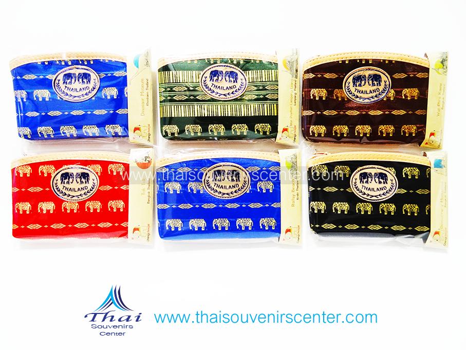 ของขวัญให้ผู้ใหญ่ กระเป๋าสตางค์ผ้าลายช้างขอบหนัง (แพ็ค 6 ชิ้น คละสี ) แบบ 17