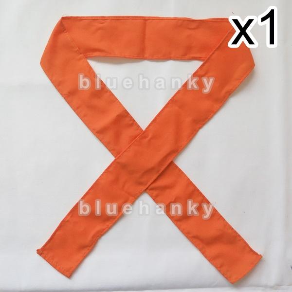 ผ้าคาดหัว พันข้อมือ พันแขน 5*110ซม สีส้ม
