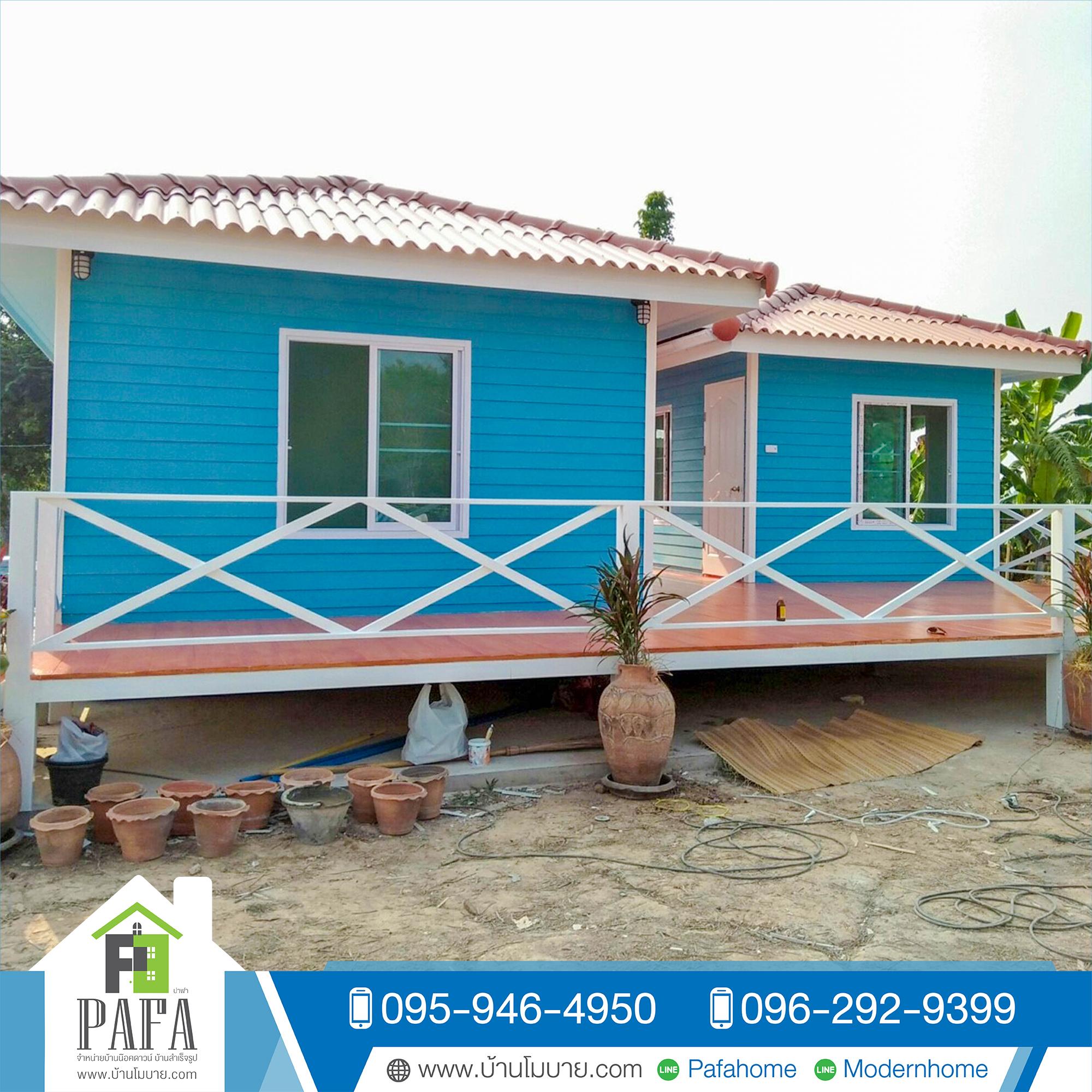 บ้านขนาด 4*6 + 3*4 เมตร พร้อมระเบียง 36 ตร.ม (2 ห้องนอน 2 ห้องน้ำ 1 ห้องนั่งเล่น)