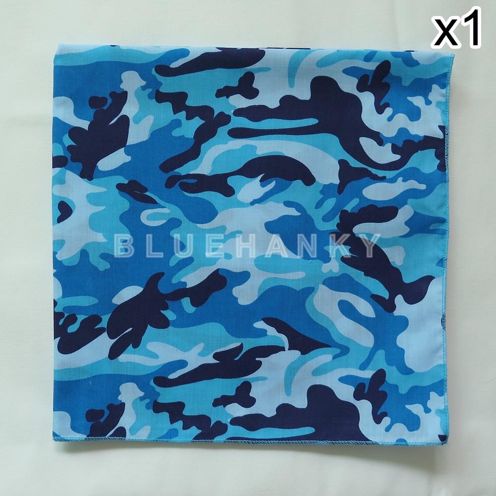 ผ้าพันคอ ผ้าโพกหัว ลายทหาร สีฟ้า ผืนใหญ่