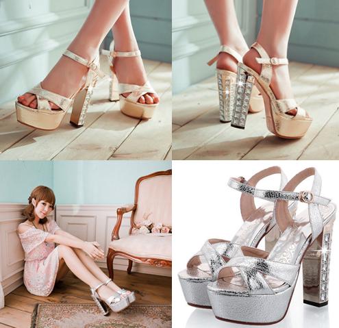 รองเท้าส้นสูง ไซต์ 34-43 สีทอง สีเงิน