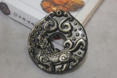 จี้เหรียญปี่เซี๊ยะหินออบซีเดียม(Obsidian)